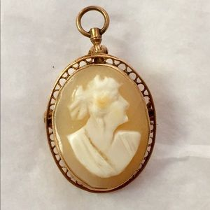 Antique 14k solid gold Cameo hand carved brooch